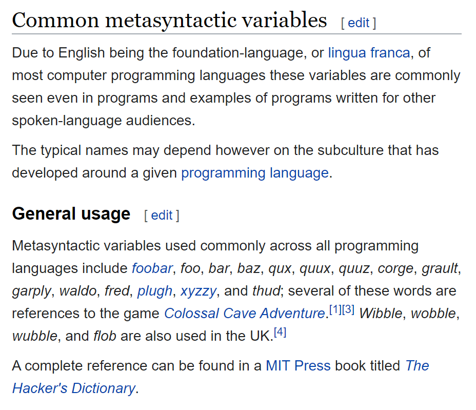 screen grab of wikipedia entry for metasyntactic variables